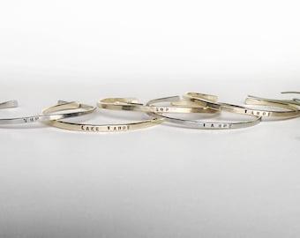 say it with GRACE cuff, hand stamped cuff, word bracelets, dainty cuff, silver cuff,  custome stamped bracelet, custom cuff,