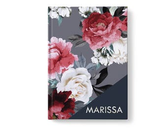 Floral Personalized Journal, Modern Flower Pattern, Personalized Journals for Women, Gift jn0004