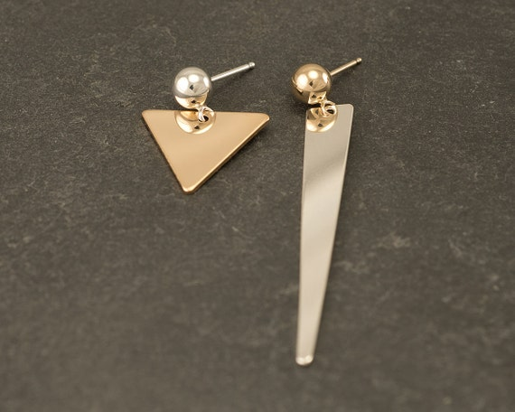 Silver Triangle Stud Earrings- Chevron Studs- Silver Asymmetrical Triangle Earrings- Silver Gold Triangle Earrings- Gold Silver Post Earring