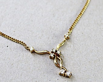 Diamond necklace, 14k yellow gold, Y necklace, Vintage 1980s jewelry