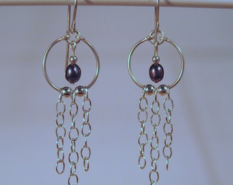 Sterling Silver Hoop Earrings  with Chain Dangles and Freshwater Pearls