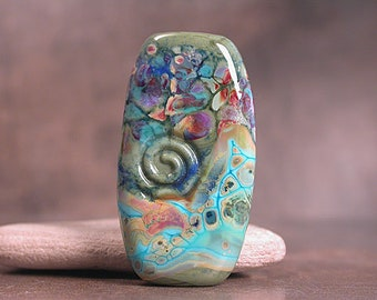Lampwork Focal Bead, Artisan Glass Beads, Organic Lampwork, Olive Turquoise, Divine Spark Designs, SRA