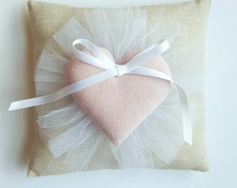 Wedding Ring Pillow With Pink Heart and Tulle, Lovely Sweet Bridal Ring Bearer Pillow, Burlap Ring Pillow