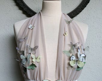 Another Capolavoro - Handmade Women Top Bra Lingerie with Butterflies and Moths Luna Moth in Cotton and Silk Organza  - One of a Kind