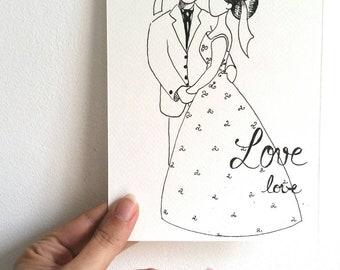 Carte, faire-part, mariage, mariés, love, union, illustration, encre noire, art mural, couple, amoureux, noir, blanc, dessin, bretagne,
