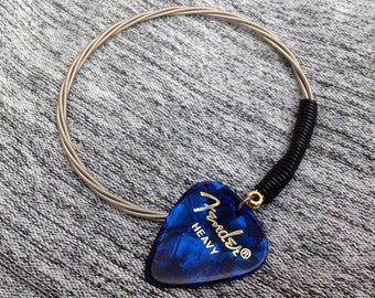 Fender Blue Pick Guitar String Bangle Bracelet