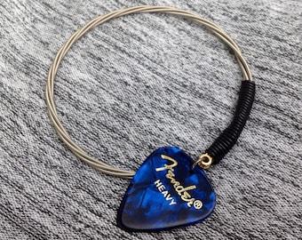 Fender Blue Pick Guitar String Bangle Bracelet