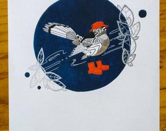 NZ Native Fantail Bird Art Print To Frame