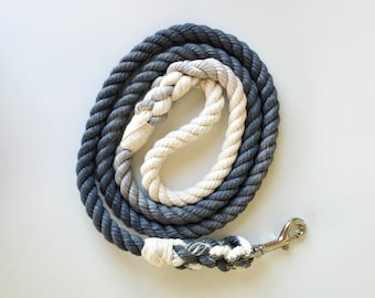 Grey Solid Ombre or Marbled Cotton Rope Dog Leash