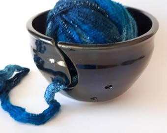 Pottery yarn bowl with j cut in shiny black for knitters and fibre artists supply storage for yarn