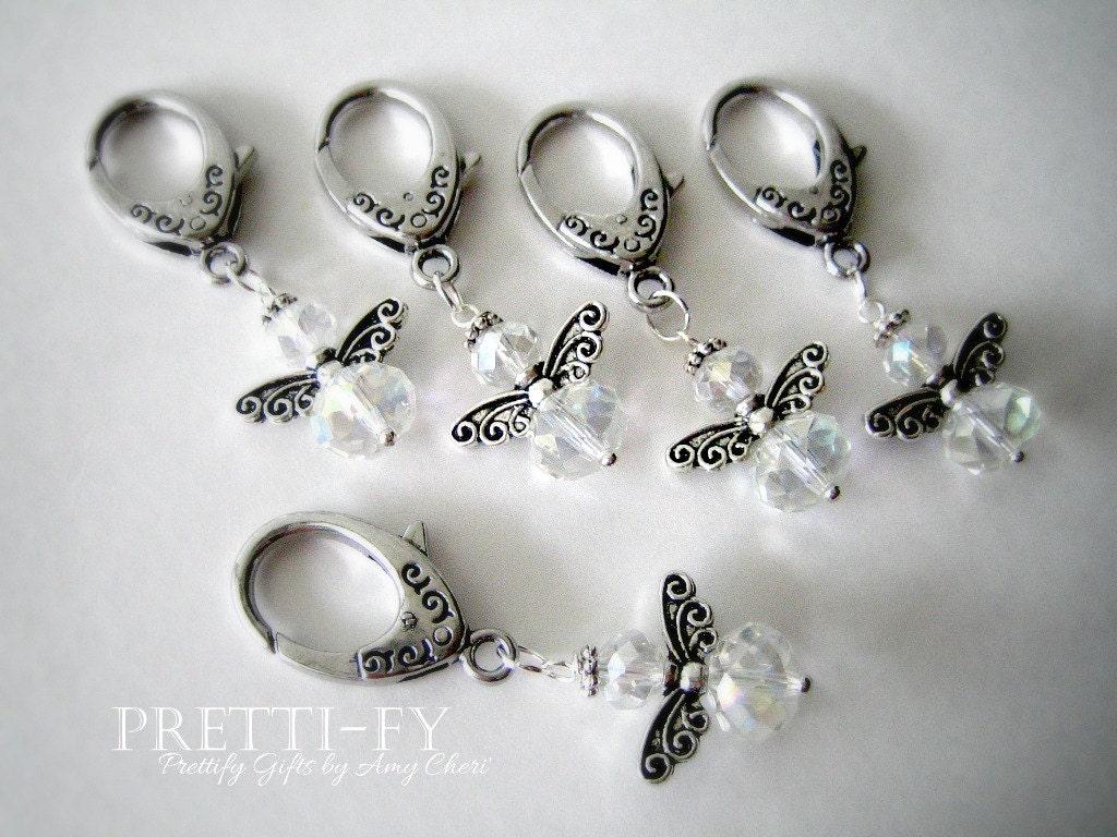 Small Crystal Angel Keychain Charm Crystal Angel Charms Key