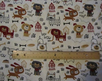 Cream with Brown Dog/Puppy/Fire Hydrant Flannel Fabric  by the Yard