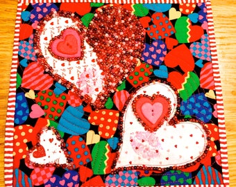 A Heart Holds So Much! Beaded Art Quilt
