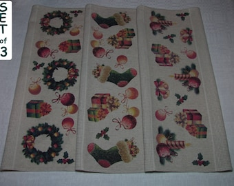 Christmas Kitchen Towels Set #1 Christmas Tea Towel Set Cotton Linen Christmas Kitchen Set Christmas Kitchen Set