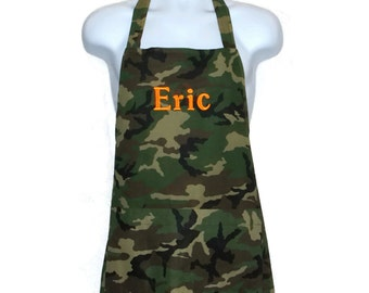 Camouflage Camo Apron Men, BBQ Cooking, Extra  Extra Large Size, 2X  3X, Plus Size, Personalize With Name, Ready To Ship TODAY AGFT 461