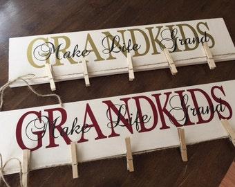 Grandkids Make Life Grand with clothesline