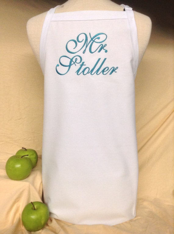 """White Wedding """"Mr."""" Apron with Dark Teal Ocean Script in extra long (34""""L x 24""""W) Bridal Shower Gift, Cake Cutting Ceremony Tuxedo Saver"""