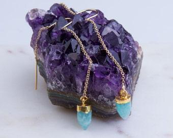 Gemstone Drop Earrings, Gold Threader Earrings, Gold Filled Earrings, Dangling Earrings, Gift For Her, Simple Gold Earrings, Dangle Earrings