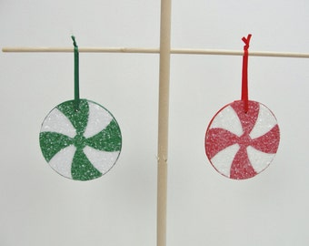"Candy ornaments, peppermint candy ornament, 3"" ornament.  Choose 2"