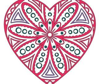 heart flower mandala SVG cutting file
