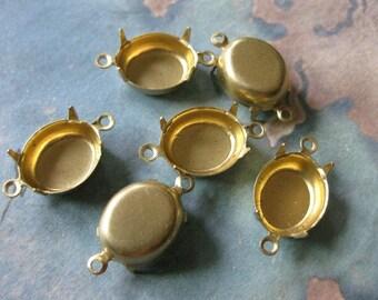 12 PC Raw Brass Oval Prong Setting 12 x 10mm - FF05