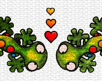 Lizards In Love Digital Stamps by Sasayaki Glitter