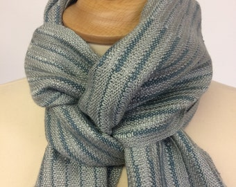 Soft green silk scarf with a beautiful striped pattern