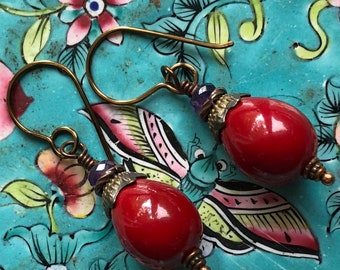 PASSIONATE RED Shell PEARL Earrings Real Amethyst  Boho-Tribal-Sufi-Ethnic-Gypsy