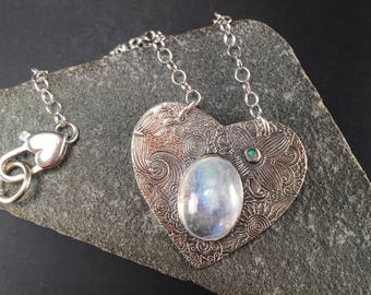 Sacred Heart  Rainbow Moonstone Necklace, fine silver,  sterling silver, Rainbow moonstone Heart, Opal heart