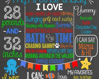 Ocean First Birthday Chalkboard // Under the Sea First Birthday // Personalized Printable Chalkboard