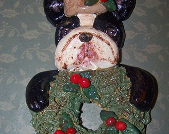 Folk Art Vintage Boston Terrier Dog Santa w Wreath Ornament Ooak Nostalgic Cookie Doll