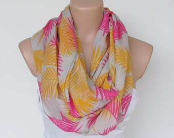 Pink Yellow and Gray Scarf- Infinity Loop Scarf-Circle Scarf --Shawl Scarf-Cowl Scarf-Tube Scarf-Spring Accessories- Gift-New Season