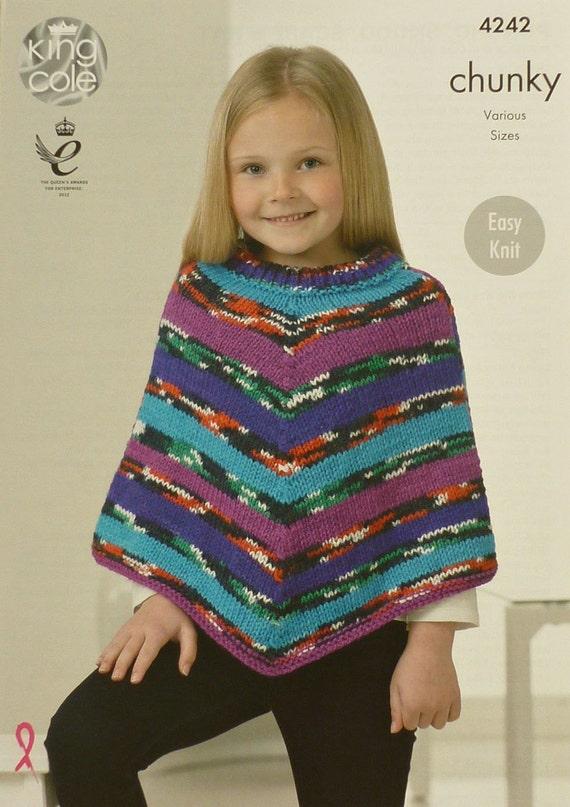 Girls Knitting Pattern K4242 Childrens Easy Knit Poncho