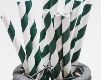 100 Evergreen Stripe Paper Straws - Perfect for Parties - Favors--Free Editable DIY Tags PDF