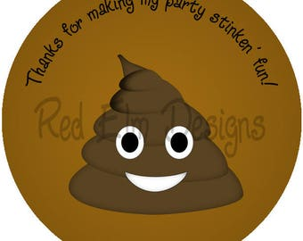 "Emoji Poop Stickers - Sheet of 20 - 2"" round.  Emoji Stinken' Birthday Party Favors.  2 Inch Round Emoji Stickers, Happy Poop Face Stickers"