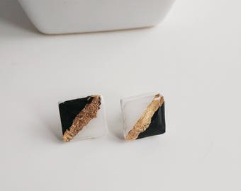Black, White and Gold Stud Earrings