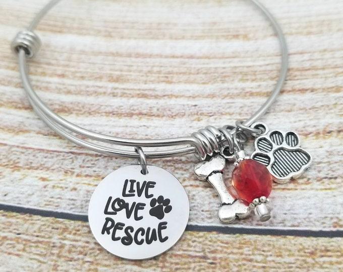 Live Love Rescue Customizable Expandable Bangle Charm Bracelet, choose your charms, create your style, design your bracelet,