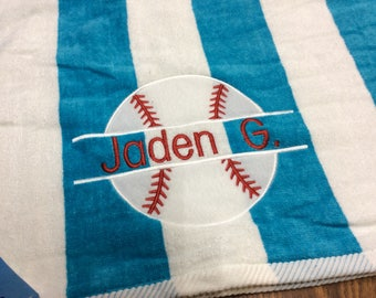 Baseball Personalized Beach Towel Monogrammed Beach Towel Groomsman Gift Pool Party, Birthday Gift, Bridesmaids Gift, Bridal Party Favors
