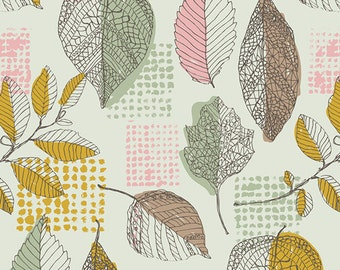 Sketchbook fabric by AGF pink mustard leaves by the metre UK SELLER