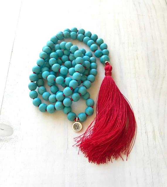 New Beginnings Mala Beads, Howlite 108 Bead Mala Necklace, Yin Yang Charm Mala, Vibrant Energy Mala Beads, Yoga Style Jewelry
