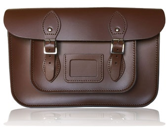 """12.5"""" Classic British Leather Satchel 100% Real Leather - Chestnut Brown"""