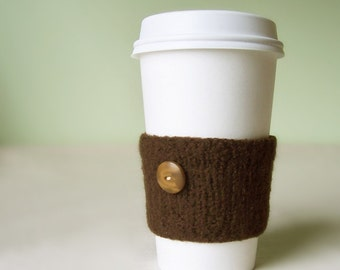 Coffee Cuff - Chocolate Brown - Knitted & lightly felted cup cozy