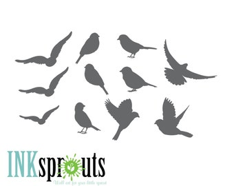Bird Decal,  Birds, Flying Birds, Birds for Birch trees, Extra Bird Decal, Modern Nursery, Nursery decals, Baby Decals