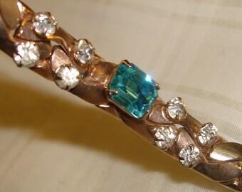 SALE Vintage Aquamarine glass and rhinestone bracelet