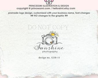 1230-11  camera logo, sunshine camera, logo branding,  business branding, business logo design, watermark, photography branding, cute camera