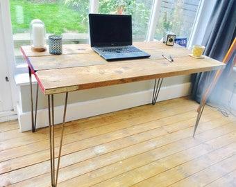 Scaffolding desk | Industrial desk with steel hairpin legs