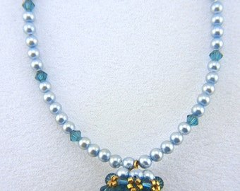 Swarovski Aqua Crystal and Lt. Blue Pearl Necklace with Beaded Bead Pendant - N012BFL