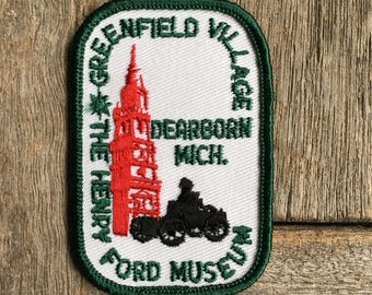 Greenfield Village, The Henry Ford Museum, Dearborn, Michigan Vintage Souvenir Travel Patch by Voyager
