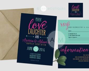 Wedding Invitation set, Boho Wedding Invitation, Printable Invitations, Whimsical invitation set: ARISSA