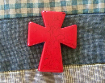 Cross Large Bright Red Howlite Stone, Pendant, Frame, Keychain, Purse, Craft, Jewelry Supply